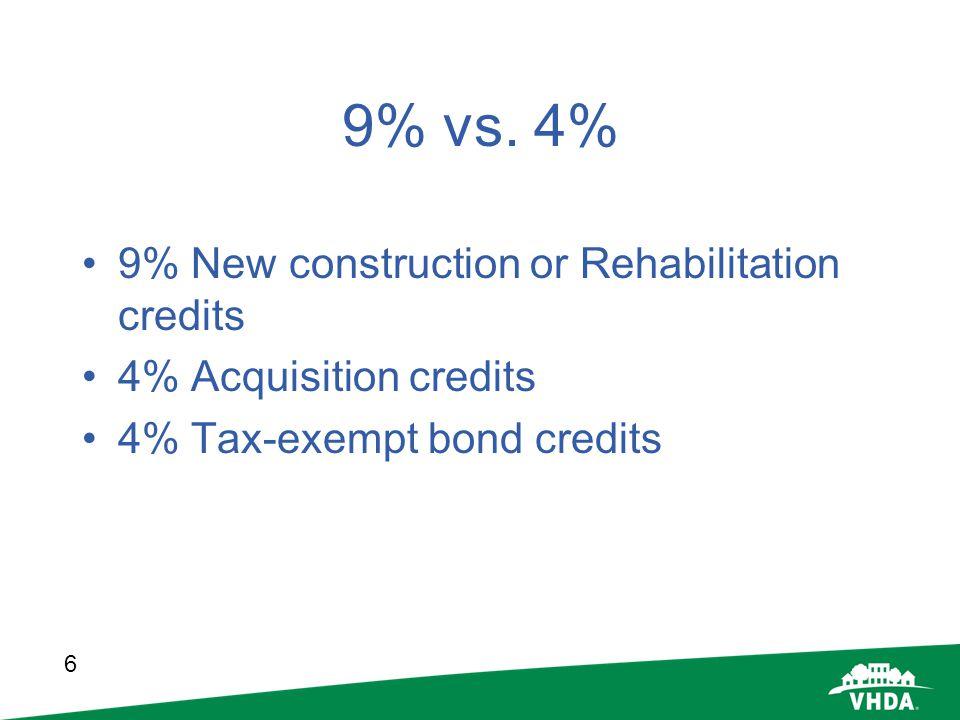 6 9% vs. 4% 9% New construction or Rehabilitation credits 4% Acquisition credits 4% Tax-exempt bond credits