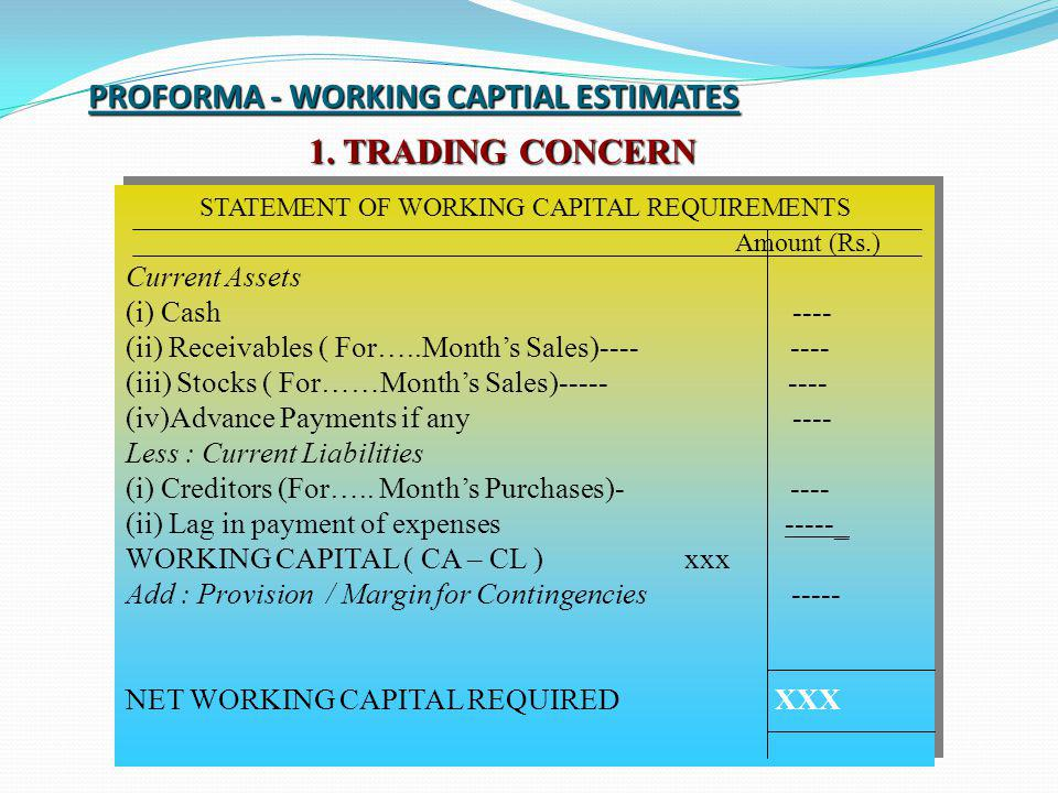 PROFORMA - WORKING CAPTIAL ESTIMATES 1. TRADING CONCERN STATEMENT OF WORKING CAPITAL REQUIREMENTS Amount (Rs.) Current Assets (i) Cash ---- (ii) Recei