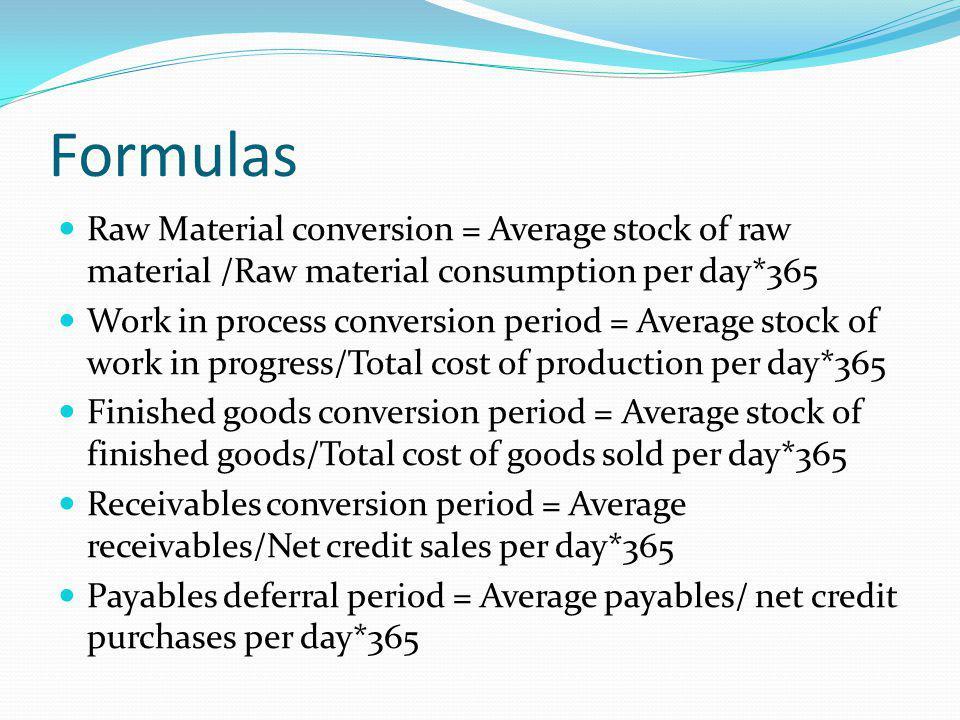 Formulas Raw Material conversion = Average stock of raw material /Raw material consumption per day*365 Work in process conversion period = Average sto