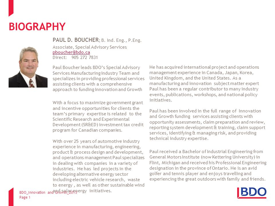BDO_Innovation and Growth_2013 Page 1 BIOGRAPHY PAUL D.