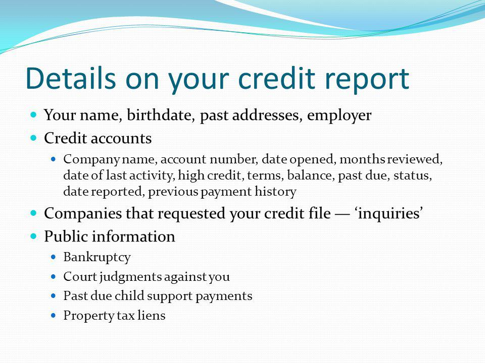 Details on your credit report Your name, birthdate, past addresses, employer Credit accounts Company name, account number, date opened, months reviewe