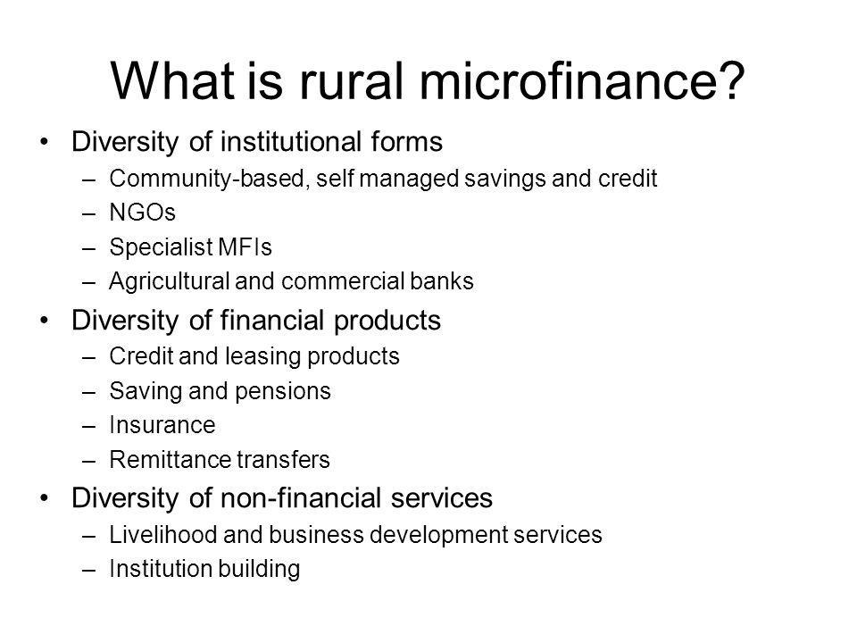 What is rural microfinance.