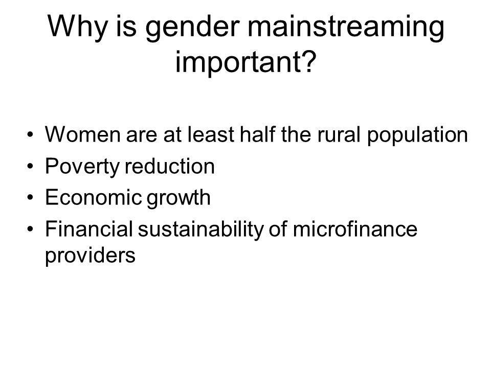 Why is gender mainstreaming important.