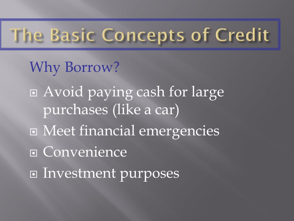 Key legislation deals with Credit discrimination.Disclosure of credit information.
