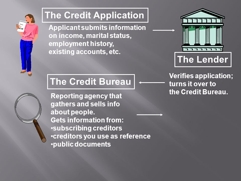 The Credit Bureau The Credit Application Applicant submits information on income, marital status, employment history, existing accounts, etc.