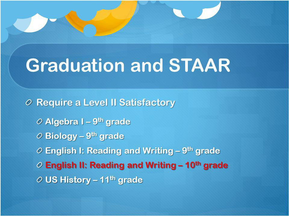 Graduation and STAAR Require a Level II Satisfactory Algebra I – 9 th grade Biology – 9 th grade English I: Reading and Writing – 9 th grade English II: Reading and Writing – 10 th grade US History – 11 th grade