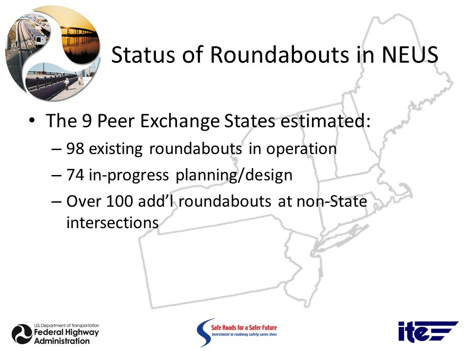 Status of Roundabouts in NEUS The 9 Peer Exchange States estimated: – 98 existing roundabouts in operation – 74 in-progress planning/design – Over 100