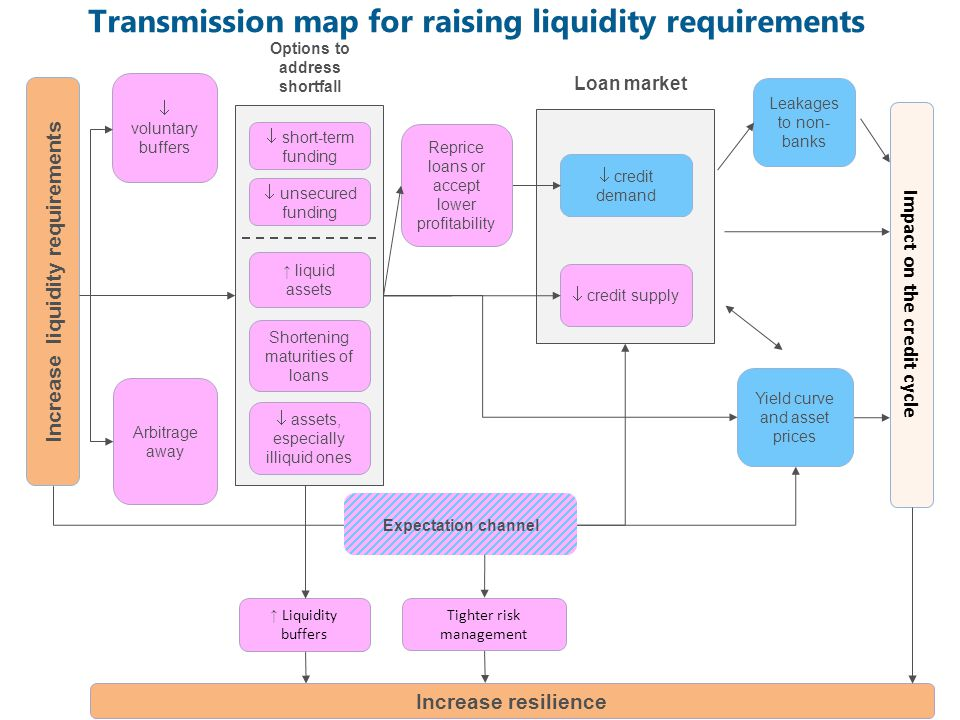 Transmission map for raising liquidity requirements Liquidity buffers Tighter risk management Increase resilience voluntary buffers Arbitrage away Impact on the credit cycle Shortening maturities of loans liquid assets short-term funding Options to address shortfall Increase liquidity requirements Expectation channel credit demand Loan market credit supply Leakages to non- banks Reprice loans or accept lower profitability Yield curve and asset prices assets, especially illiquid ones unsecured funding