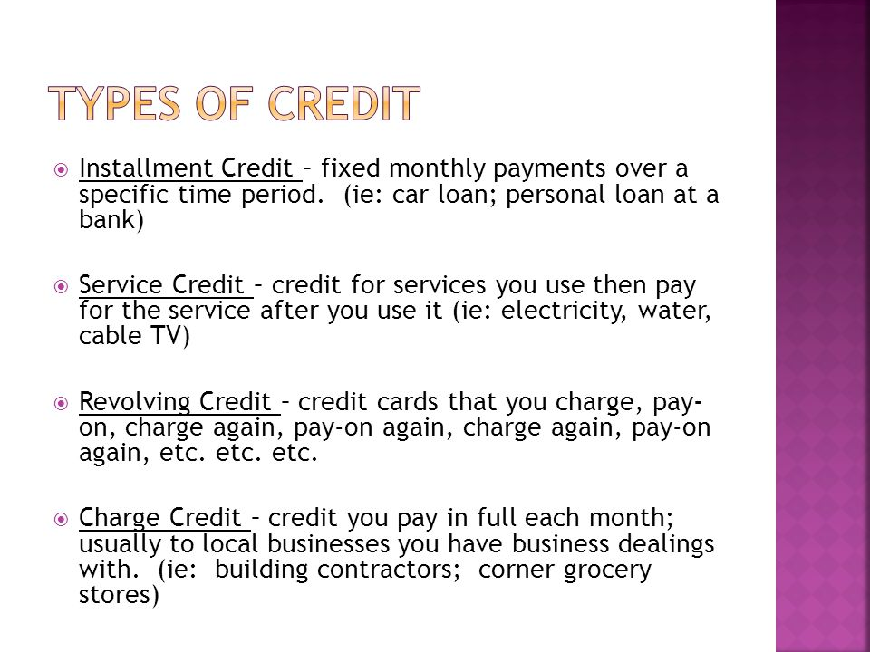 Credit Risk The risk that a borrower may not repay a loan on time