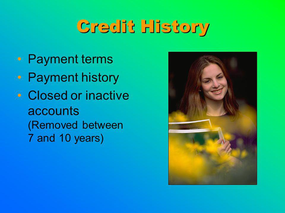 Credit History Payment terms Payment history Closed or inactive accounts (Removed between 7 and 10 years)