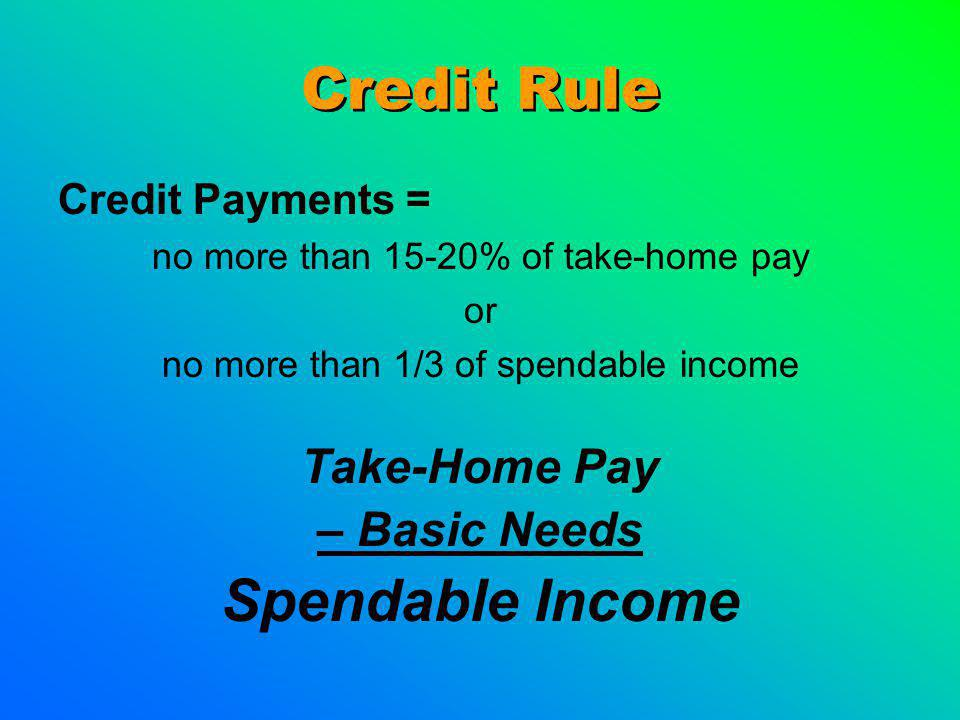 Credit Rule Credit Payments = no more than 15-20% of take-home pay or no more than 1/3 of spendable income Take-Home Pay – Basic Needs Spendable Incom