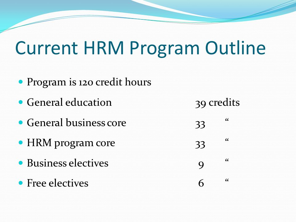 Current HRM Program Outline Program is 120 credit hours General education 39 credits General business core 33 HRM program core33 Business electives 9 Free electives 6