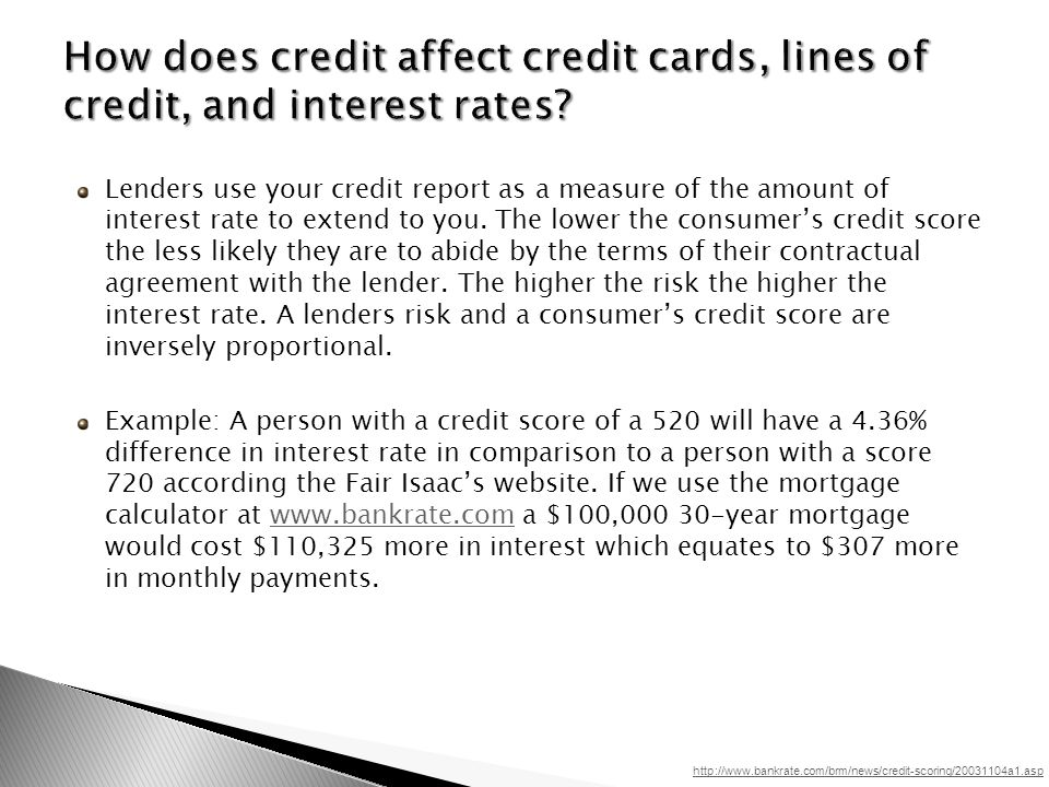Lenders use your credit report as a measure of the amount of interest rate to extend to you.
