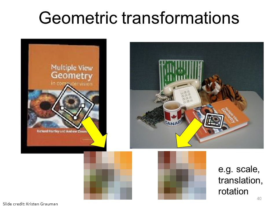 Geometric transformations e.g. scale, translation, rotation Slide credit: Kristen Grauman 40