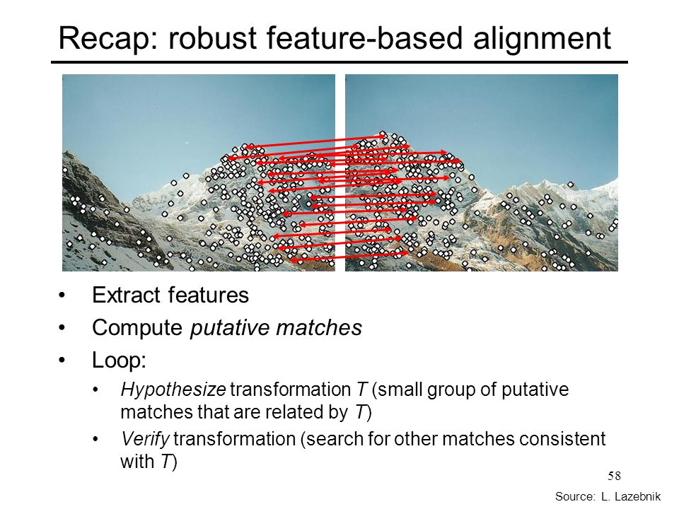 Recap: robust feature-based alignment Extract features Compute putative matches Loop: Hypothesize transformation T (small group of putative matches that are related by T) Verify transformation (search for other matches consistent with T) Source: L.