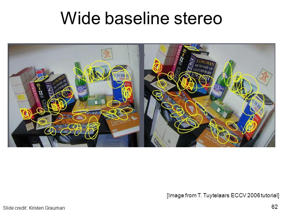 Wide baseline stereo [Image from T. Tuytelaars ECCV 2006 tutorial] Slide credit: Kristen Grauman 62