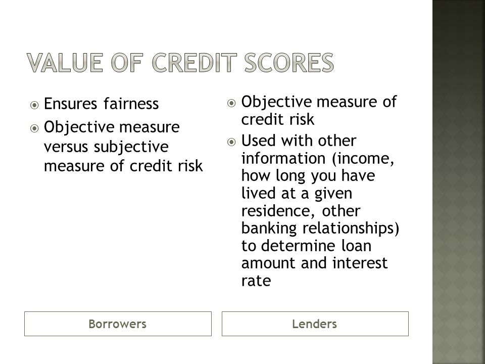 15. Explain value of credit scores to borrowers and lenders