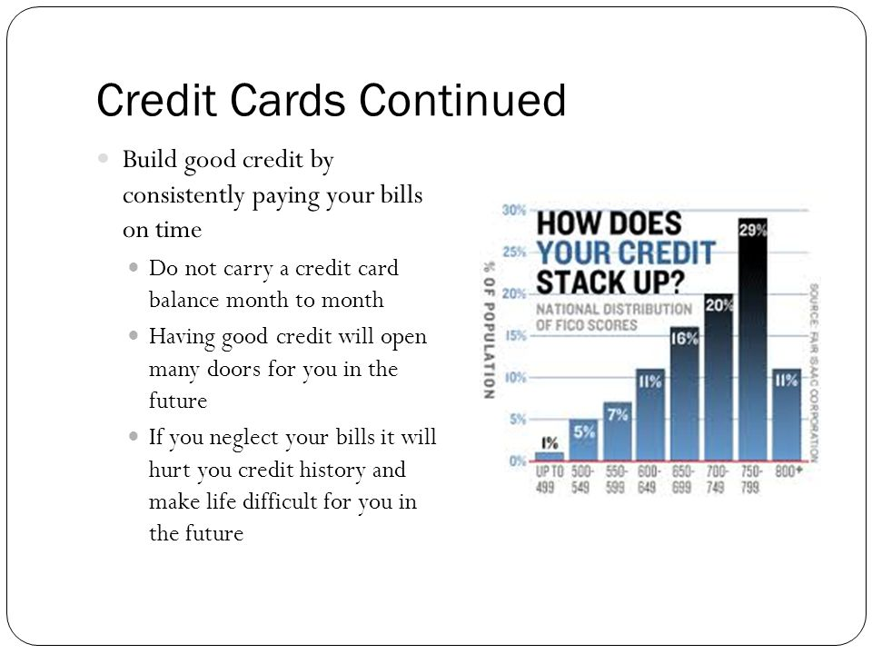 Credit Cards Continued Build good credit by consistently paying your bills on time Do not carry a credit card balance month to month Having good credit will open many doors for you in the future If you neglect your bills it will hurt you credit history and make life difficult for you in the future