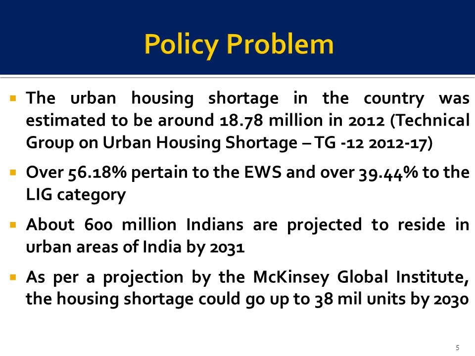 The urban housing shortage in the country was estimated to be around 18.78 million in 2012 (Technical Group on Urban Housing Shortage – TG -12 2012-17