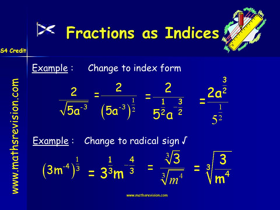 www.mathsrevision.com Fractions as Indices Example :Change to index form Example :Change to radical sign S4 Credit