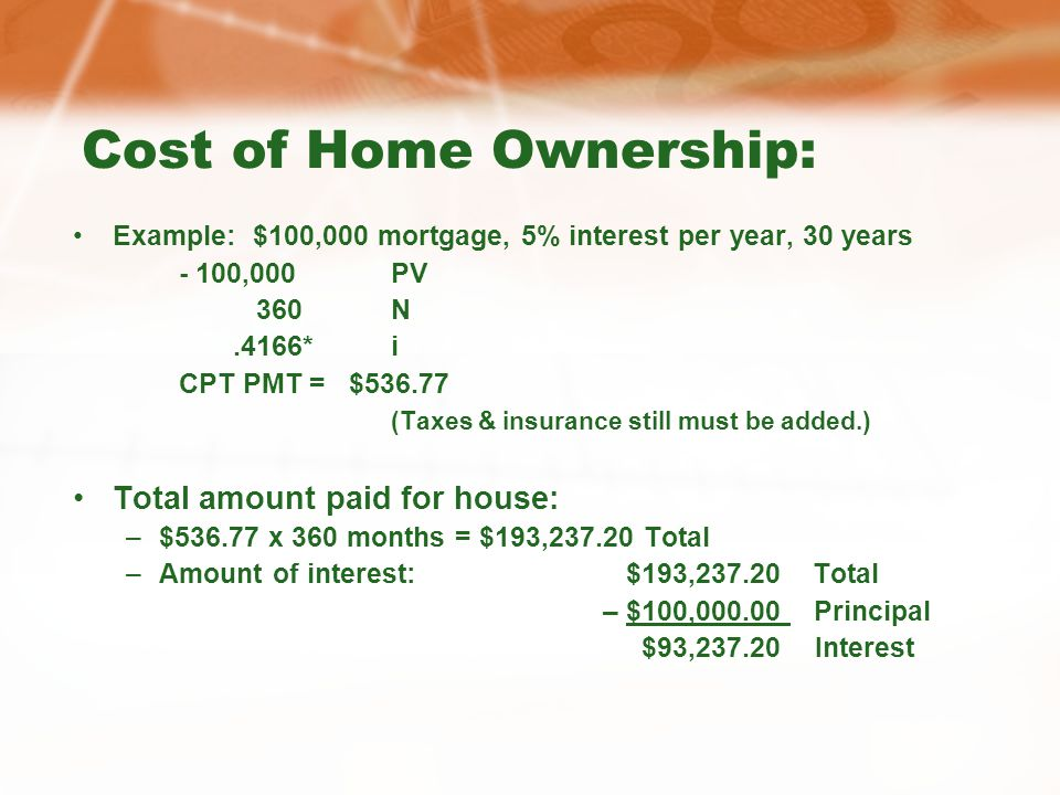 Cost of Home Ownership: Example: $100,000 mortgage, 5% interest per year, 30 years - 100,000PV 360N.4166*i CPT PMT = $536.77 (Taxes & insurance still must be added.) Total amount paid for house: –$536.77 x 360 months = $193,237.20 Total –Amount of interest: $193,237.20 Total – $100,000.00 Principal $93,237.20 Interest