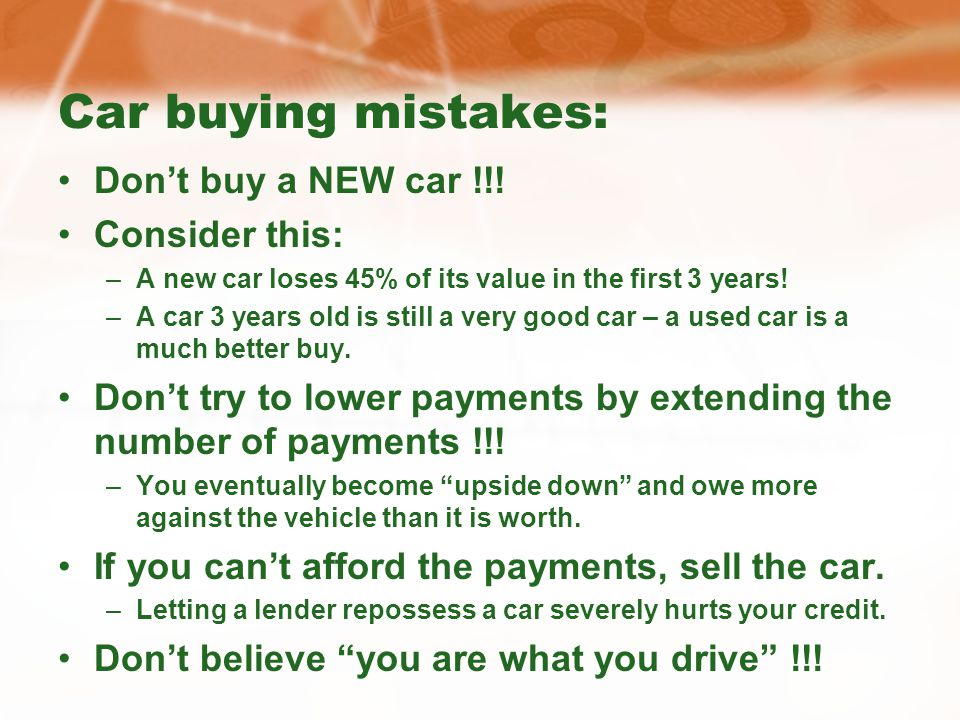 Car buying mistakes: Dont buy a NEW car !!.