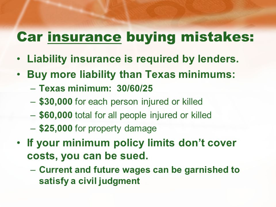 Car insurance buying mistakes: Liability insurance is required by lenders.