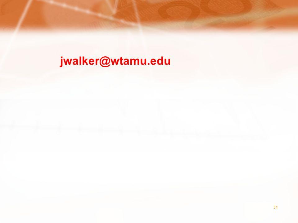 31 jwalker@wtamu.edu