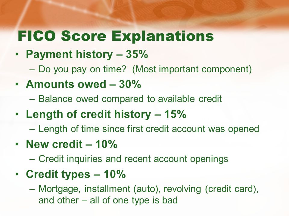 FICO Score Explanations Payment history – 35% –Do you pay on time.