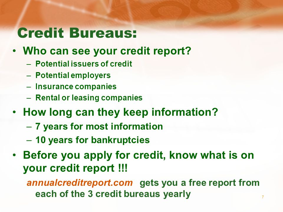 28 Bankruptcy Cant discharge: –Student loans –Alimony or child support –Taxes to the IRS –Debt taken on in anticipation of bankruptcy –Certain suits for damages Chapter 7 – straight bankruptcy –All debts discharged Chapter 13 – wage earner plan –Must use this plan if your income is equal to or more than the median household income in your state ($49,646 in Texas currently) –You eventually pay off all debts, but you have an extended time to do it and your creditors cant sue you in the mean time