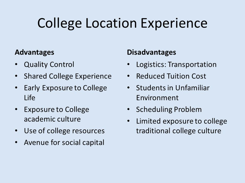 College Location Experience Advantages Quality Control Shared College Experience Early Exposure to College Life Exposure to College academic culture U