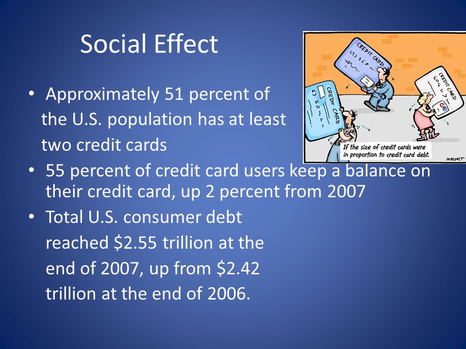 Social Effect Cont… There are more than 292 Million credit cards in use in the US.
