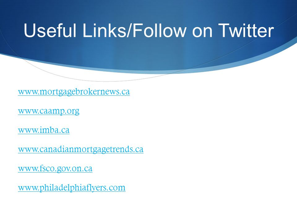 Useful Links/Follow on Twitter