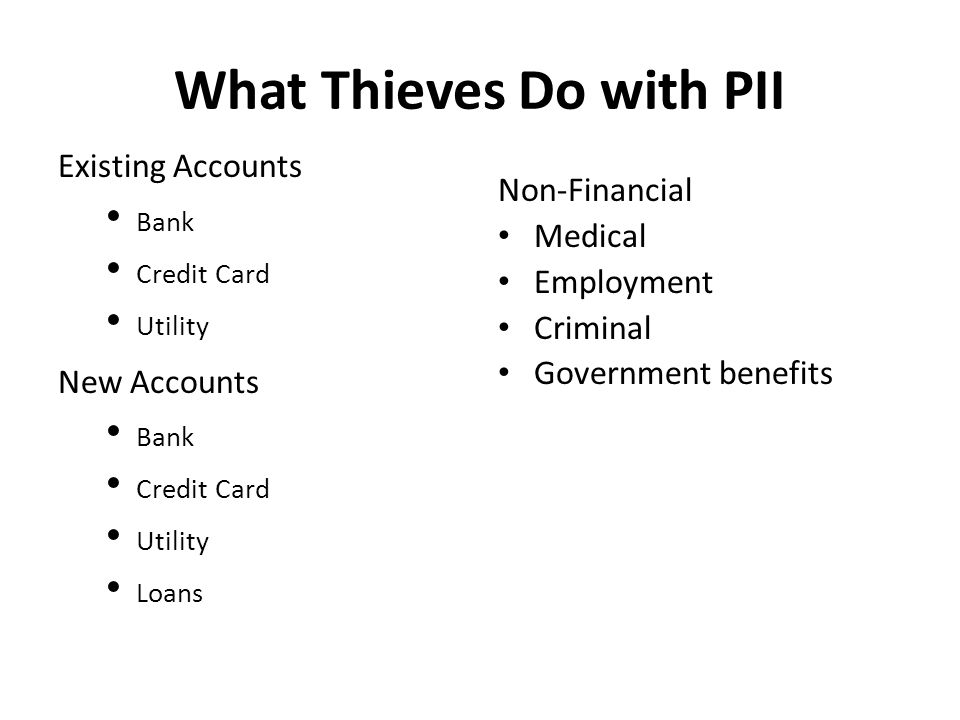 What Thieves Do with PII Existing Accounts Bank Credit Card Utility New Accounts Bank Credit Card Utility Loans Non-Financial Medical Employment Criminal Government benefits