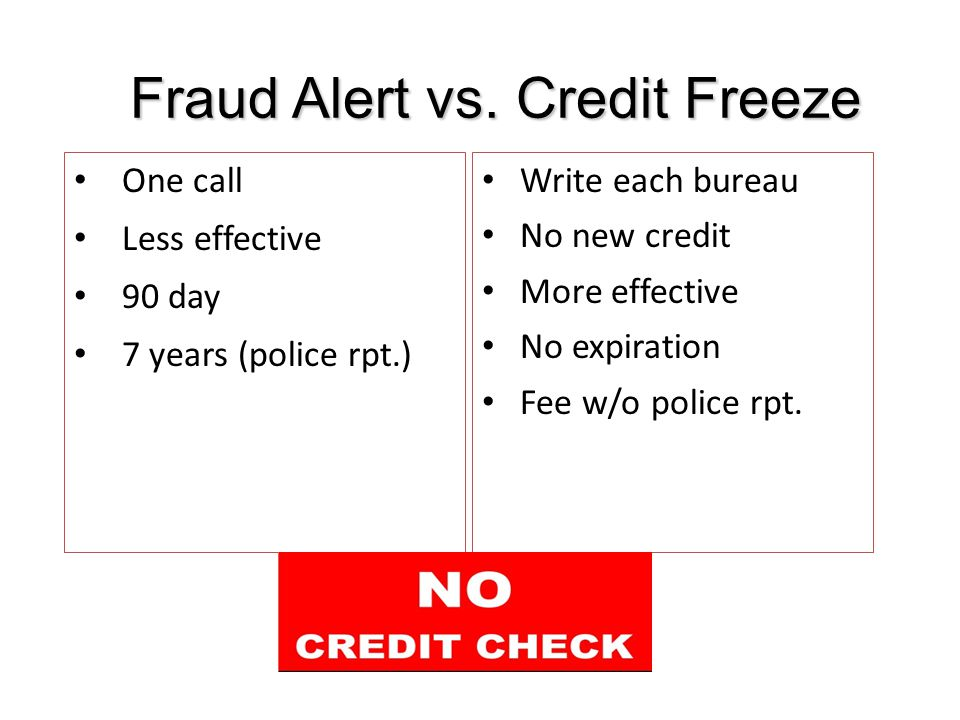 Fraud Alert vs.