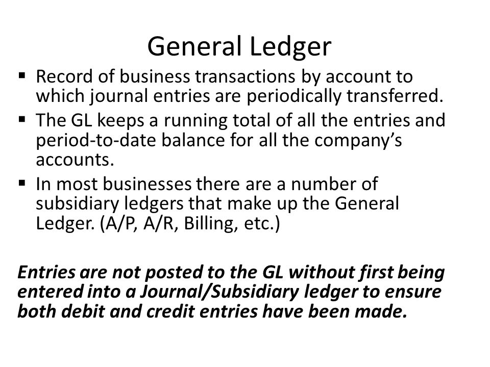 General Ledger Record of business transactions by account to which journal entries are periodically transferred.