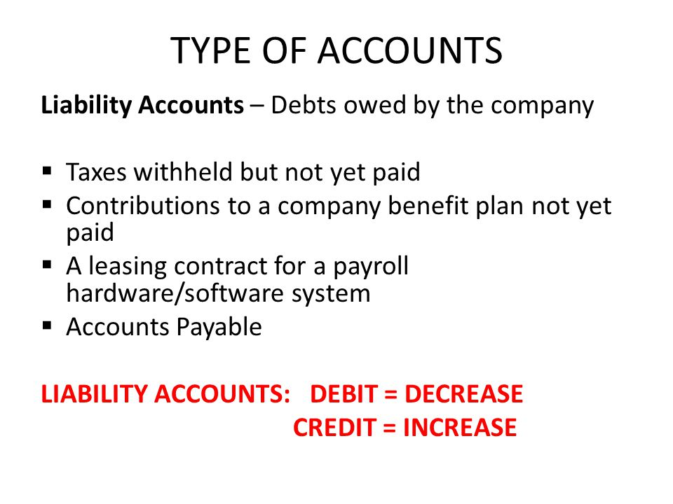 TYPE OF ACCOUNTS Liability Accounts – Debts owed by the company Taxes withheld but not yet paid Contributions to a company benefit plan not yet paid A leasing contract for a payroll hardware/software system Accounts Payable LIABILITY ACCOUNTS: DEBIT = DECREASE CREDIT = INCREASE