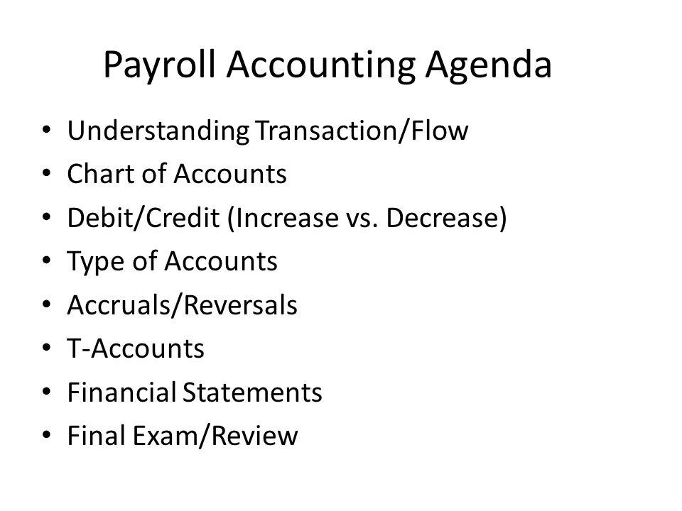 Payroll Accounting Agenda Understanding Transaction/Flow Chart of Accounts Debit/Credit (Increase vs. Decrease) Type of Accounts Accruals/Reversals T-