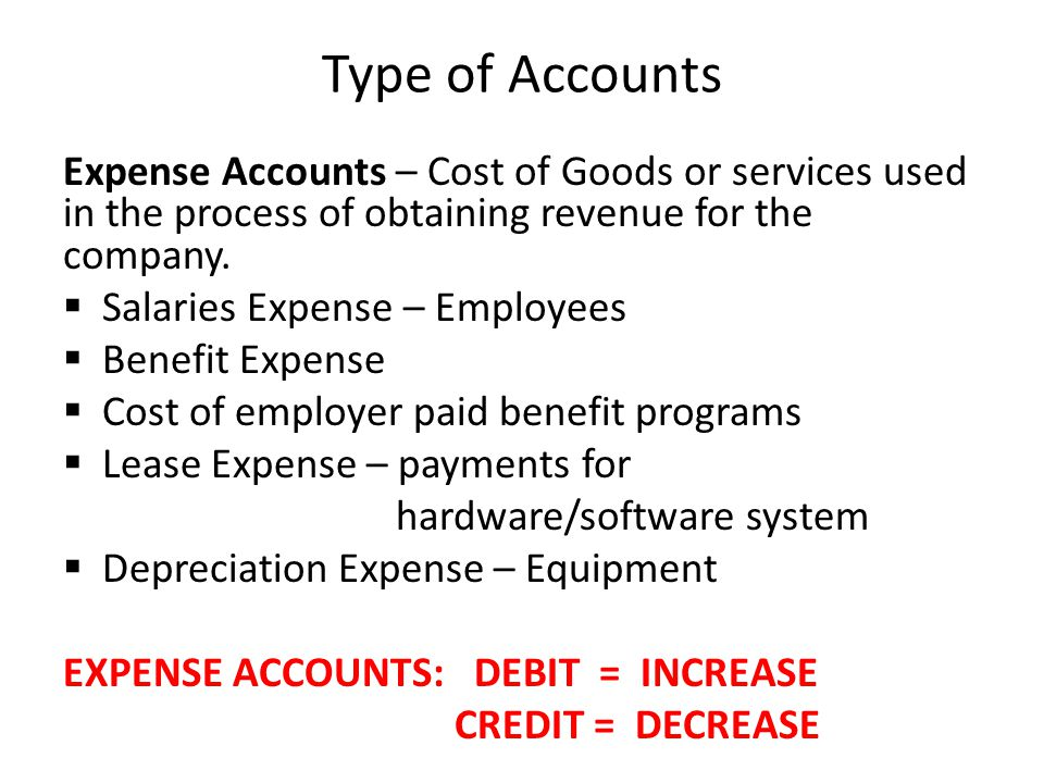 Type of Accounts Expense Accounts – Cost of Goods or services used in the process of obtaining revenue for the company.