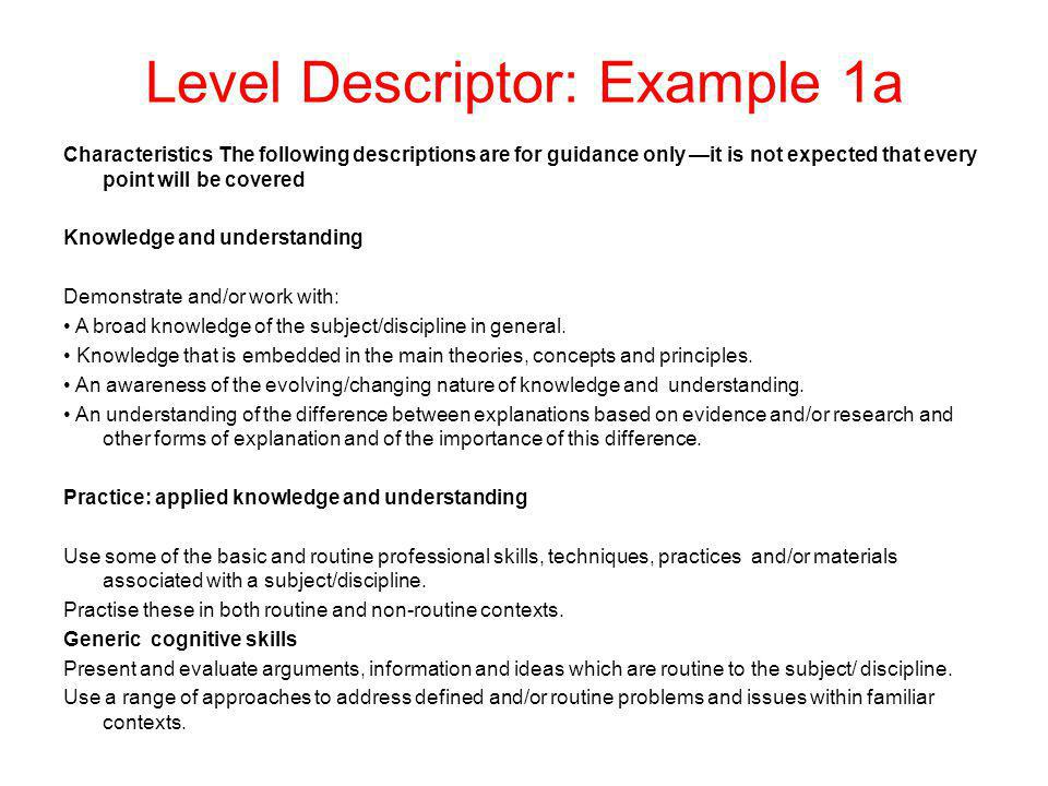 Level Descriptor: Example 1a Characteristics The following descriptions are for guidance only it is not expected that every point will be covered Know