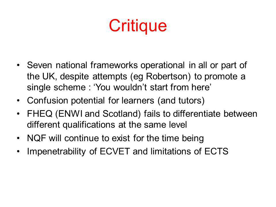 Critique Seven national frameworks operational in all or part of the UK, despite attempts (eg Robertson) to promote a single scheme : You wouldnt star