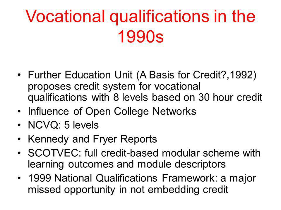 Robertson Report, 1994 Choosing to Change: extending access, choice and mobility in higher education (HEQC, 1994), Recommends: a single unified credit framework covering F & HE based on the 30-hour credit; A National credit transcript Development of 2 year Associate degrees Extending arrangements for credit accumulation and transfer Enhanced arrangements for student guidance