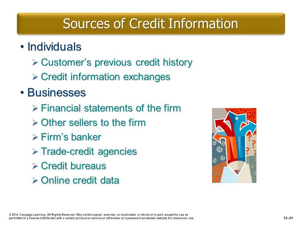 Sources of Credit Information IndividualsIndividuals Customers previous credit history Customers previous credit history Credit information exchanges