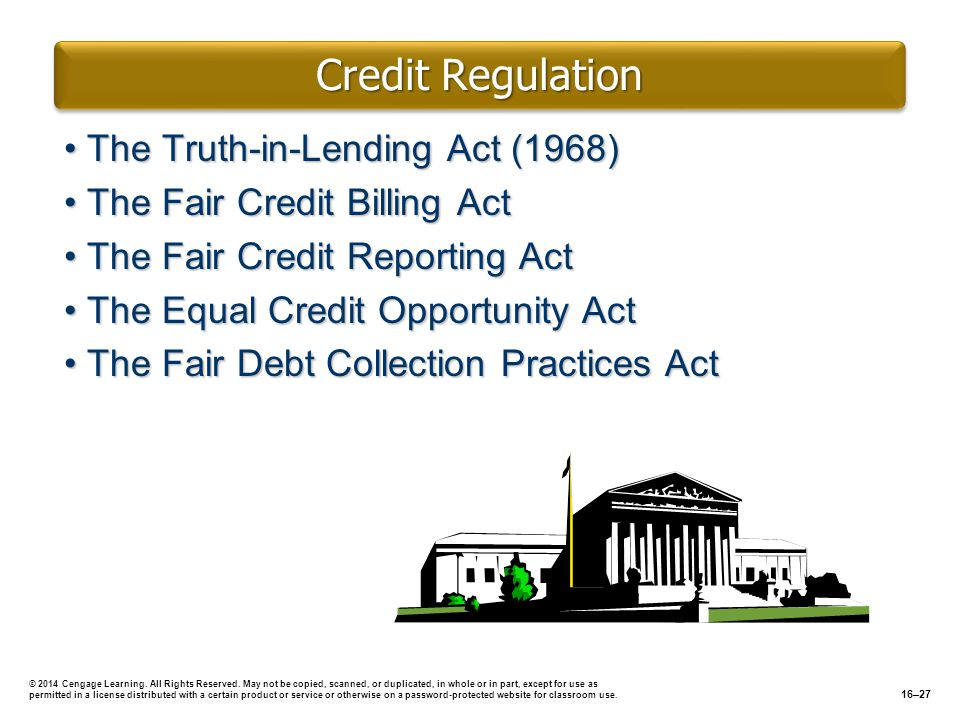 Credit Regulation The Truth-in-Lending Act (1968)The Truth-in-Lending Act (1968) The Fair Credit Billing ActThe Fair Credit Billing Act The Fair Credi