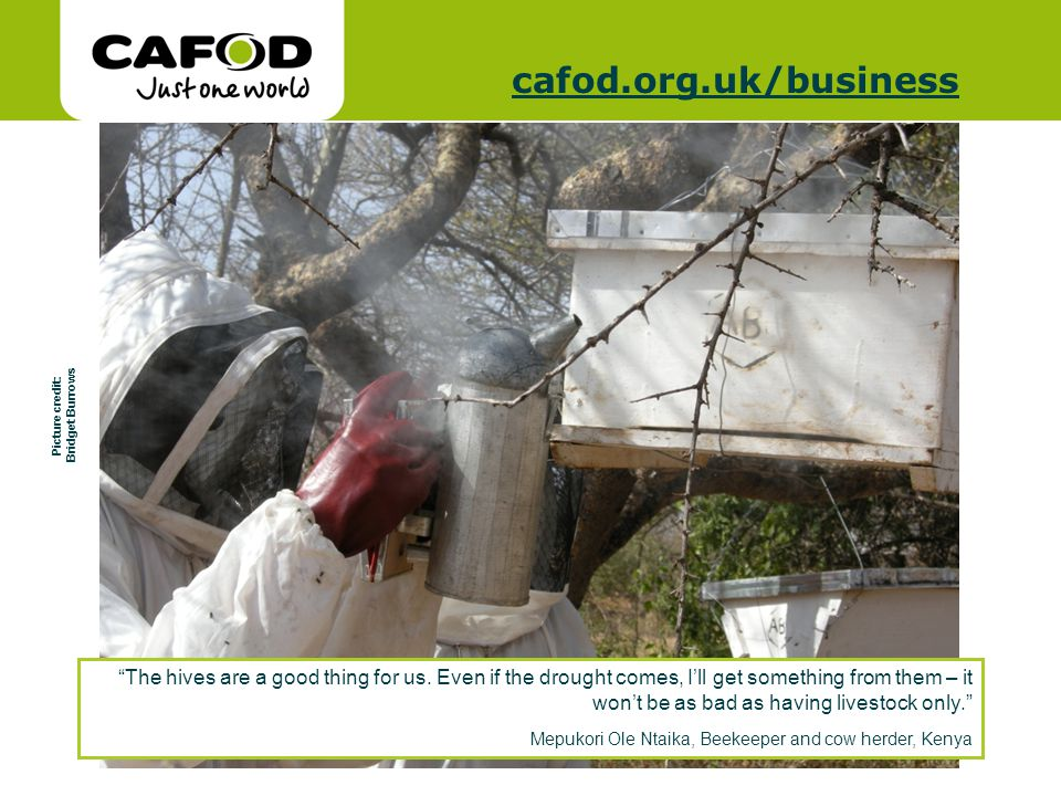 www.cafod.org.uk cafod.org.uk/cafod.org.uk/business Picture credit: Bridget Burrows The hives are a good thing for us.