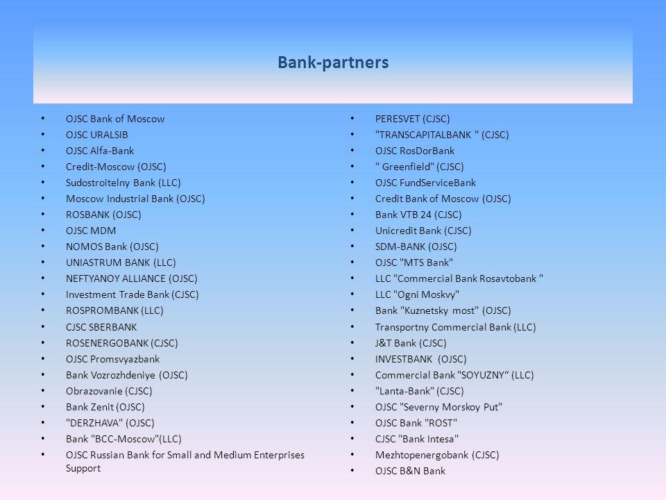 Bank-partners OJSC Bank of Moscow OJSC URALSIB OJSC Alfa-Bank Credit-Moscow (OJSC) Sudostroitelny Bank (LLC) Moscow Industrial Bank (OJSC) ROSBANK (OJ