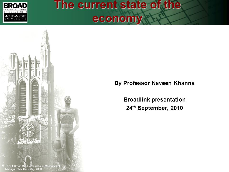 The Eli Broad Graduate School of Management, Michigan State University, 2008 The current state of the economy By Professor Naveen Khanna Broadlink presentation 24 th September, 2010