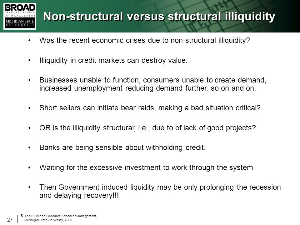 27 The Eli Broad Graduate School of Management, Michigan State University, 2008 Non-structural versus structural illiquidity Was the recent economic crises due to non-structural illiquidity.