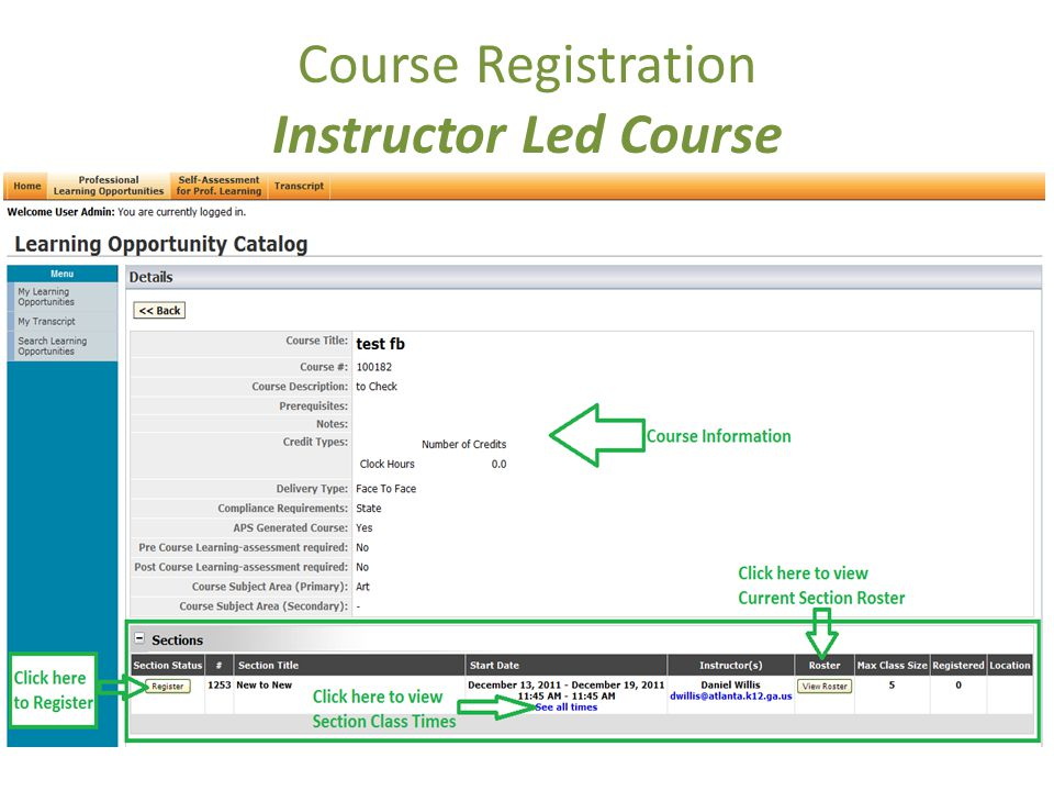 Course Registration Instructor Led Course