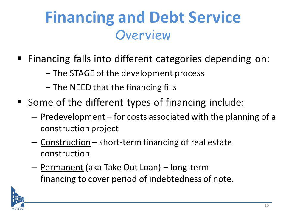 Financing and Debt Service Overview Financing falls into different categories depending on: The STAGE of the development process The NEED that the financing fills Some of the different types of financing include: – Predevelopment – for costs associated with the planning of a construction project – Construction – short-term financing of real estate construction – Permanent (aka Take Out Loan) – long-term financing to cover period of indebtedness of note.